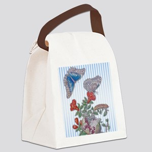 Blue Morpho Butterfly On Pomegran Canvas Lunch Bag