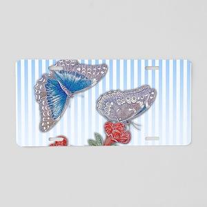 Blue Morpho Butterfly On Po Aluminum License Plate