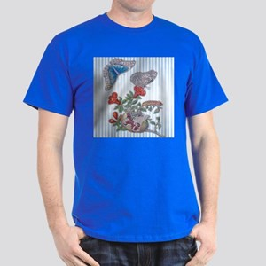 Blue Morpho Butterfly On Pomegranate Dark T-Shirt