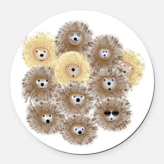 Hedgehog Party Round Car Magnet