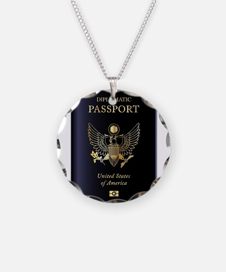 USA Diplomatic Passport Necklace Circle Charm