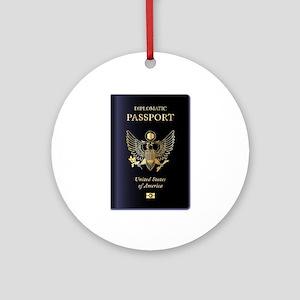 USA Diplomatic Passport Round Ornament