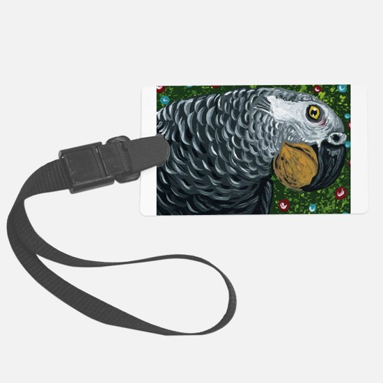 African Grey Parrot Christmas Nuts Luggage Tag