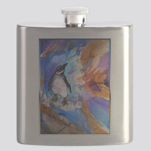 Penguin, wildlife art, Flask