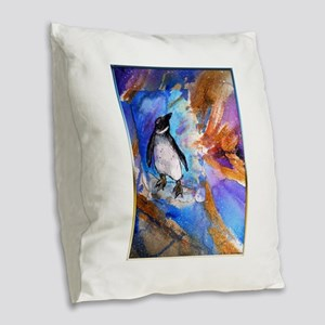 Penguin, wildlife art, Burlap Throw Pillow