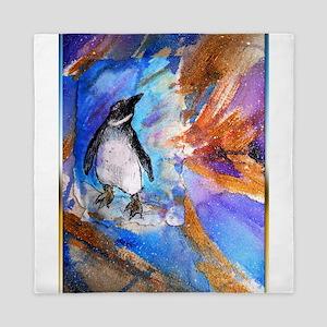 Penguin, wildlife art, Queen Duvet