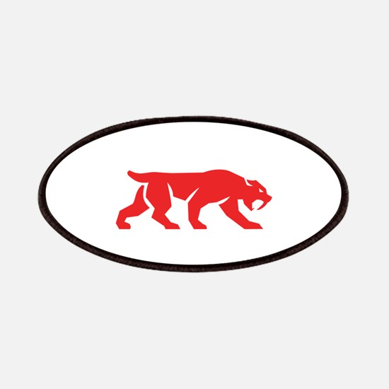 Saber Tooth Tiger Cat Silhouette Retro Patch