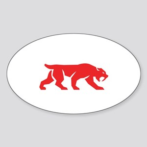 Saber Tooth Tiger Cat Silhouette Retro Sticker
