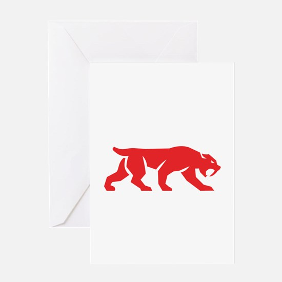 Saber Tooth Tiger Cat Silhouette Retro Greeting Ca