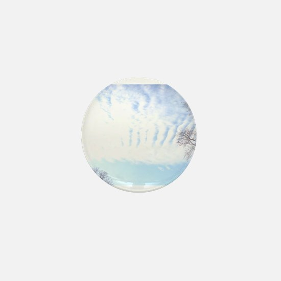 Snowy, Fluffy Clouds Mini Button