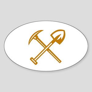 Pick Axe Shovel Crossed Retro Sticker