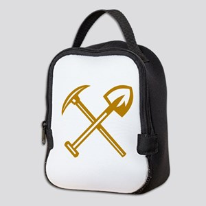 Pick Axe Shovel Crossed Retro Neoprene Lunch Bag