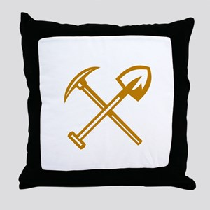 Pick Axe Shovel Crossed Retro Throw Pillow