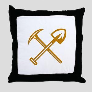 Pick Axe Shovel Crossed Retro Throw Pillow