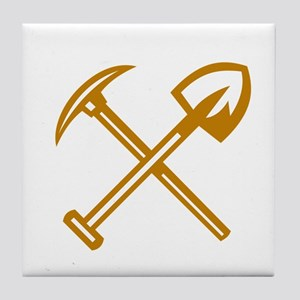 Pick Axe Shovel Crossed Retro Tile Coaster