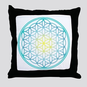 Flower of Life - Aqua Throw Pillow