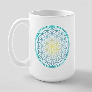 Flower of Life - Aqua Large Mug