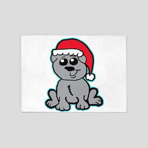 Christmas Pug 5'x7'Area Rug