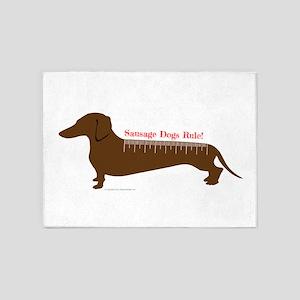 Sausage Dogs Rule 5'x7'Area Rug