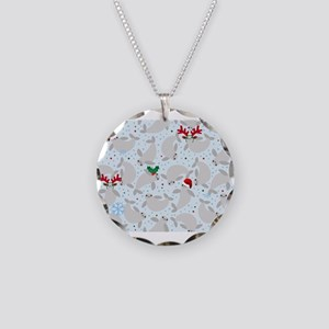 christmas Manatee Necklace Circle Charm