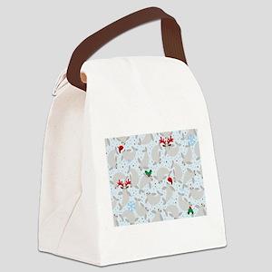 christmas Manatee Canvas Lunch Bag