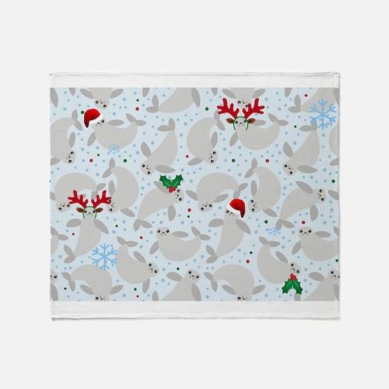 christmas Manatee Throw Blanket