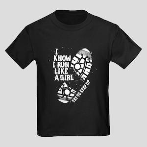 I Know I Run Like a Girl Kids Dark T-Shirt