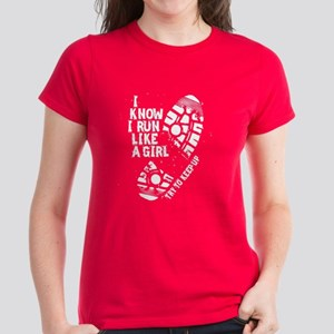 I Know Run Like A Girl Womens Dark T Shirt