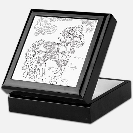 Prancing Paisley Horse Design Keepsake Box