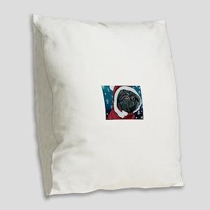 Black Pug Santa Christmas Burlap Throw Pillow