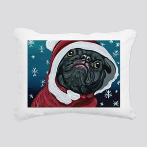 Black Pug Santa Christmas Rectangular Canvas Pillo