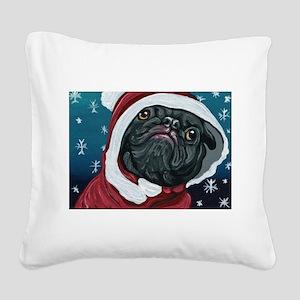 Black Pug Santa Christmas Square Canvas Pillow
