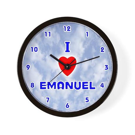 I Love Emanuel (Blue) Valentine Wall Clock