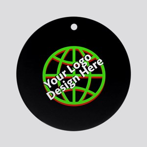 Your Logo over a Black Background Round Ornament