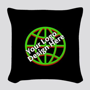 Your Logo over a Black Background Woven Throw Pill