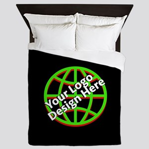 Your Logo over a Black Background Queen Duvet