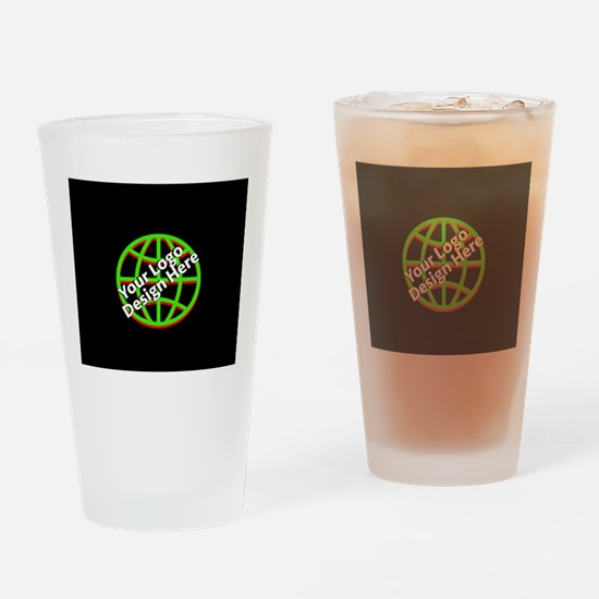 Your Logo over a Black Background Drinking Glass
