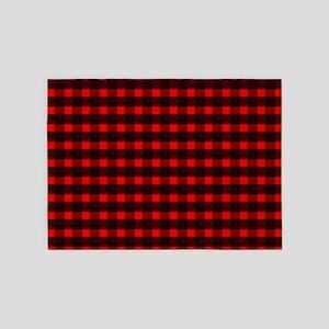 Red Black Tartan Pattern 5'x7'Area Rug