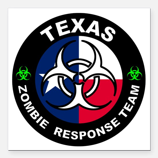 "Texas ZRT White Square Car Magnet 3"" x 3"""