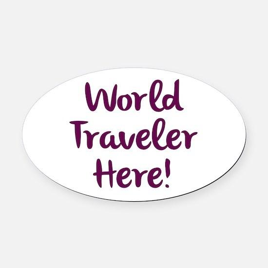 World Traveler Oval Car Magnet