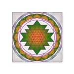 Square Sticker Emerald Gold Sacred Geometry