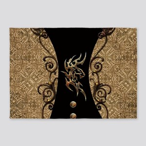 The dragon, tribal with flowers 5'x7'Area Rug