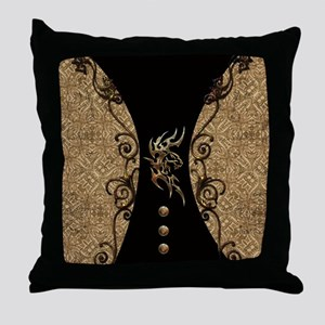 The dragon, tribal with flowers Throw Pillow