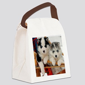 Two Husky puppies Canvas Lunch Bag