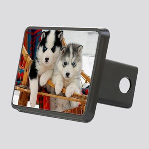 Two Husky puppies Rectangular Hitch Cover