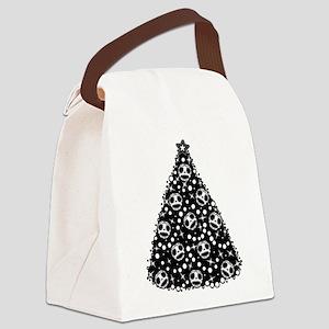 Cute Skull Christmas Tree Canvas Lunch Bag