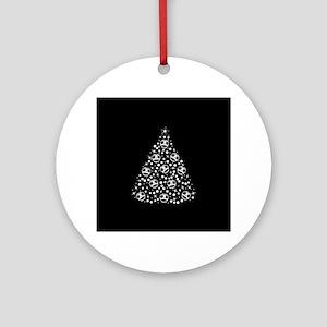 Cute Skull Christmas Tree Round Ornament