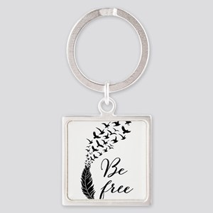 Be free, feather with flying birds Keychains