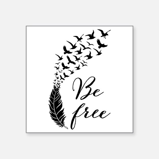 Be free, feather with flying birds Sticker