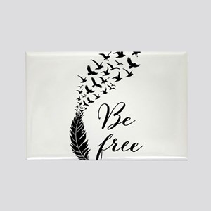 Be free, feather with flying birds Magnets